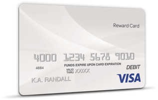 A silver $100 Visa rewards card